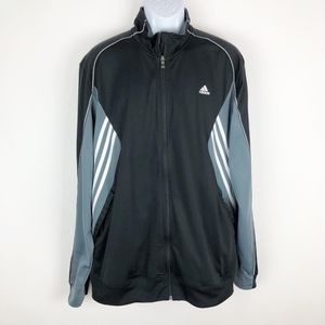 AdidasMen's Black Gray Zip Up Track Jacket XL
